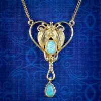OPAL PENDANT LAVALIERE NECKLACE 18CT GOLD ON STERLING SILVER