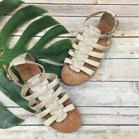 Geox Respira Womens Gold Sandals Size 39 8 Gladiator Flat Strappy Leather