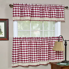 Buffalo Check Burgundy Gingham Kitchen Curtain Window Treatment Assorted Sizes
