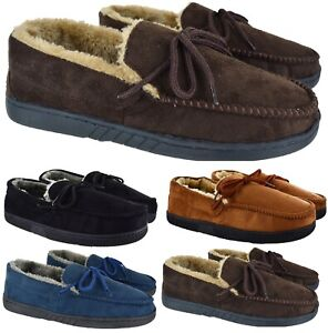 MENS MOCCASIN GENTS INDOOR WARM WINTER FLAT GRIP SOLE SLIPPERS SIZE UK 6-12 NEW