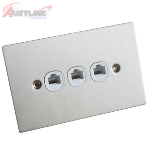 RJ45 Cat6 Cat6a 3Port Flat Brushed Stainless Steel Clipsal Style Wall Plate Slim