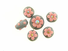 US Artisan Silver Shimmer Applied Pink Flower Crystal Bead Polymer Clay Set Lot
