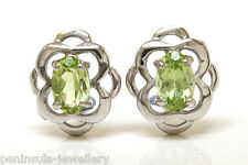 Sterling Silver Peridot Celtic Studs Earrings Made in UK Gift Boxed