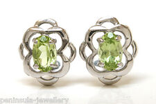 9ct White Gold Peridot celtic Studs Earrings Gift Boxed Made in UK