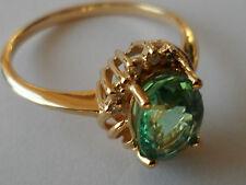 BEAUTIFUL 18K PARAIBA TOURMALINE DIAMOND YELLOW GOLD RING 1.22CT COPPER BEARING,