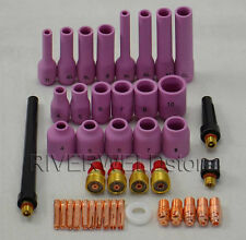 TIG Gas Lens KIT Back Cap Collet Body Fit TIG Welding Torch SR WP 9 20 25 42pcs