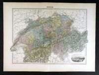 1880 Migeon Map Switzerland Berne Geneva Zurich Alps