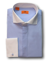 Men's Steven Land  Blue/White Spread Collar and French Cuffs Dress Shirt DW516