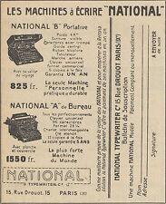 Z9736 Machines à écrire NATIONAL -  Pubblicità d'epoca - 1920 Old advertising