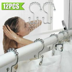 Polished Set of 24 Roller Glide Shower Curtain Hooks Nickel Rings Bathroom Decor