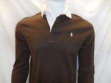 Ralph Lauren Polo Mens Sz M Long Sleeve Brown Shirt Custom Fit 100% Cotton NWT