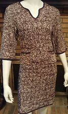 CHANEL Spring 2012 Brown/Navy/Linen/Orange CC Pocket Sweater Dress  Size 36