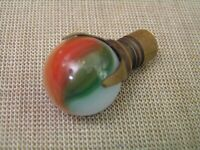 "Antique Vintage 1"" Multi-Color Glass Marble & Brass Lamp Light Finial Topper"