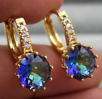 18K Yellow Gold Filled - 9mm Round Flower Topaz Zircon Hoop Women Party Earrings