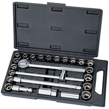 "HEAVY DUTY DRAPER 25PC 1/2"" DRIVE MM AF IMPERIAL METRIC SOCKET RATCHET SET"