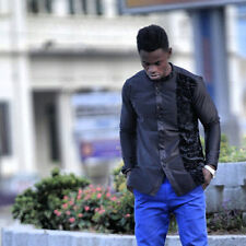 Men's Black Long Sleeve Shirt African Clothing Men's Fashion Wear