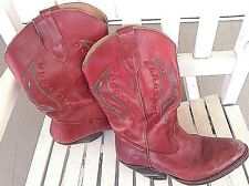 Western Cowboy Boots Wm's 9 Red Leather Loredano Line Dancing Worn Pre Owned