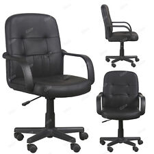 Modern Swivel Office Chair Mid Back Faux Leather Pad Support Computer Desk Seat