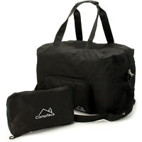 Negro Bolsa de Viaje Plegable 38L Ligero para Equipaje Gimnasio Camping Deporte