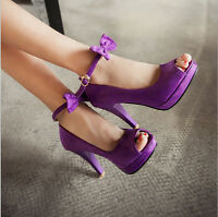 Vintage Sweet Womens Suede Peep Toe High Heels Bowknot Ankle Strap Sandals Shoes