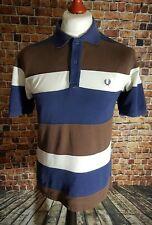 Fred Perry Blanco Azul Marrón a Rayas Camisa Polo Tamaño Pequeño Para hombres Camiseta