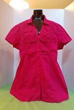 Motherhood maternity career pink short Sleeve Button Down Shirt ruched decor 1X