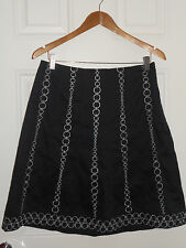 Ann Taylor Dark Blue Cotton Skirt, With Silver Embroider US Size 4 / UK 8