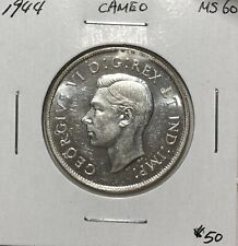 Canada 1944 Silver Half Dollar Silver 50 Cents Cameo MS60