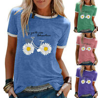 Womens UK Tee Sunflower Basic T Shirt Ladies Holiday Pullover Blouse Floral Tops