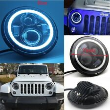 Pair 7'' LED Headlight Blue Halo Angel Eye For Jeep Wrangler JK CJ LJ TJ Hummer