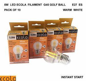 10 X 5W LED ECOLA Filament G45 GOLF BALL Light Bulb Lamps E27  ES WARM WHITE