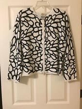 Talbots White Black Floral Long Sleeve Zipper Cardigan Sweater Size L