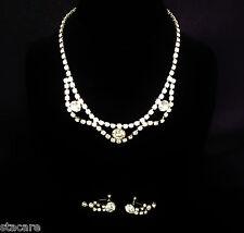 "Dangle Earrings Set Beautiful Lot 102 Vintage Rhinestone 15"" Choker 1"" Screwback"