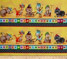 Alphabet Animal Friends ABC Border Cotton Fabric Panel 44 inches x 15.75 inches