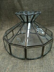 Vintage Quality Copper Light Shade Etched Glass
