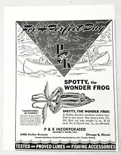 1947 Print Ad P&K Spotty The Wonder Frog Fishing Lures Pachner Koller Chicago,Il