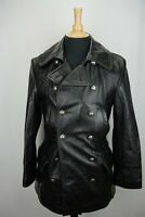 Schott Black Leather Pea Coat Metal Star Button Jacket Sz S Made USA BRAND NEW