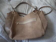 Beautiful Sofia Cardoni leather crocodile embossed bag mink  brown new