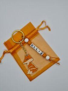Personalised fox Keyring, fox gifts, bag name tag, nature gifts