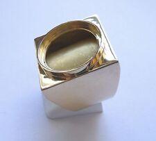 Monture chevalière or carré avec douille intérieure pour pièce 20 Franc Napoléon