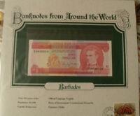 World Banknotes Barbados 1973 1 Dollar UNC P 29a Prefix F