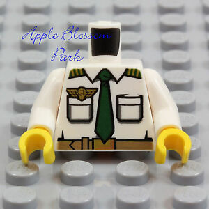 NEW Lego Male PILOT MINIFIG TORSO - White Shirt w/Pockets Green Tie & Gold Wings