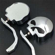 Skull Flame Side Mirrors for Harley Softail Springer EFI FXSTSI 2001–2006 Chrome