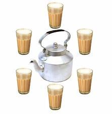 Indian Combo Tea Kettle & Teacups Aluminum Chai Teapot Indian Cutting Chai Glass