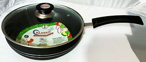 Non stick wok Stir Frying Pan Long Handle Boiling Pot with Vented Glass Lid