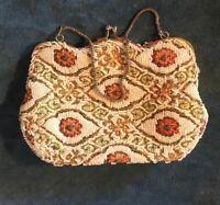 Vtg Mister Ernest Beaded Tapestry Purse Metal Tulip Frame Chain Handle Bag