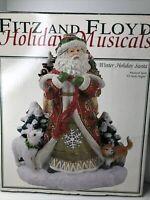 2003 Fitz and Floyd Holiday Musicals Winter Holiday Santa Music Box O HOLY NIGHT