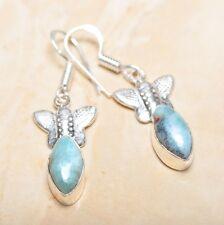 """Handmade Pale Blue Caribbean Larimar 925 Sterling Silver 2"""" Earrings #E00285"""