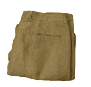 Hugo Boss 100% Linen Hooker Men's Pants - Size 106 - W38 L34 - Olive