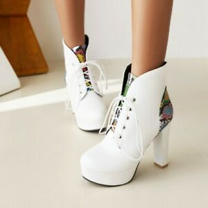 Women Round Toe Platform Shoes Lace Up Goth Fashion Block High Heels Ankle Boots